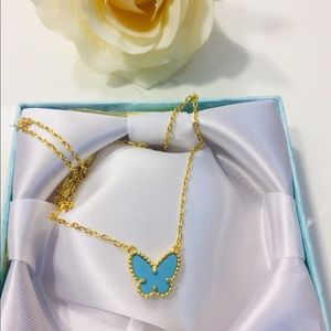 Jewelry - Gold Sweet Butterfly Turquoise Necklace Clover